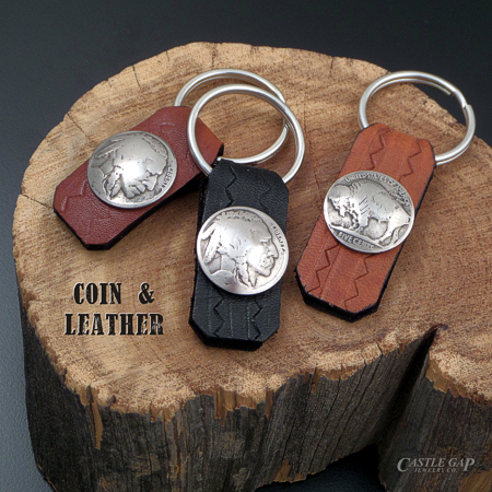 Coin and Leather Key Rings