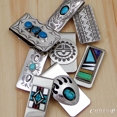 Handmade Native American sterling silver money clips