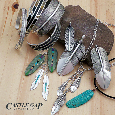 Native American stone and sterling silver feather jewelry at Castle Gap Jewelry