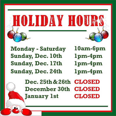 December 2017 Holiday Hours