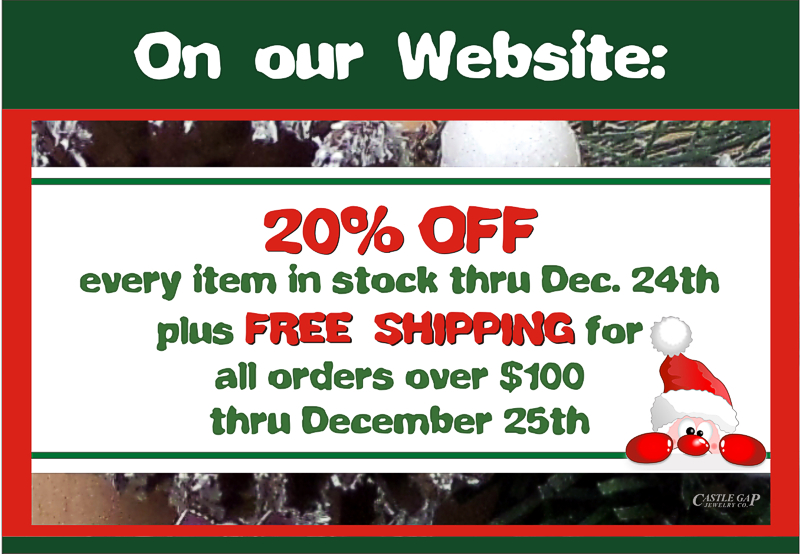 20% OFF every item in stock throughout our website thru Dec. 25th