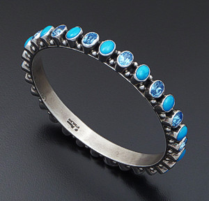 Happy Piasso (Navajo) - Sleeping Beauty Turquoise & Blue Topaz Sterling Silver Bangle Bracelet #40214 $570.00