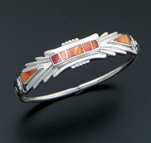 Supersmith Inc. - David Rosales Designs (Navajo) - Desert Fire Inlay & Sterling Silver Ornate Hinged Bangle Bracelet #41732 Style BR407 $375.00