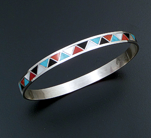 Claudine Haloo (Zuni) - Multistone Channel Inlay & Sterling Silver Bangle Bracelet #42804 $275.00