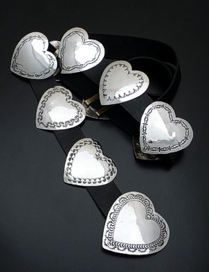 Joan Slifka (Vintage/Estate) - Stamped Sterling Silver Heart Concho Belt #33790 $2,250.00
