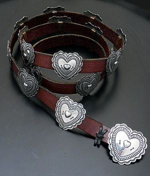 Navajo (Vintage/Estate) - Stamped Sterling Silver Heart Concho Belt #33791 $1,500.00
