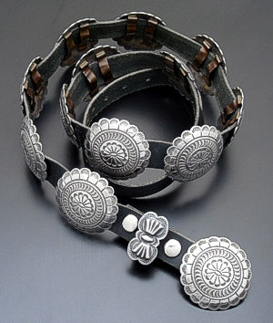 Navajo (Dead Pawn) - Round Sterling Silver & Leather Concho Belt #36689 $990.00