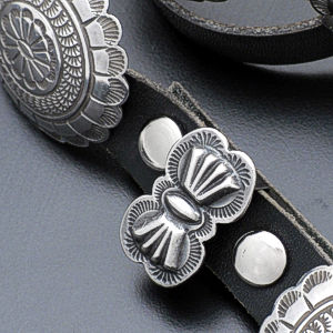 Navajo - Dead Pawn Stamped Round Sterling Silver & Leather Concho Belt #36689 $1,350.00
