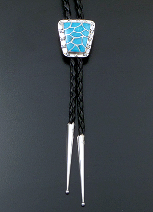 Carmichael Haloo (Zuni) - Turquoise Inlay & Sterling Silver Tapered Fish Scale Bolo Tie #20477 $175.00