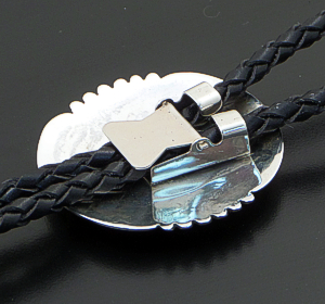 Rosco Scott (Navajo) - Turquoise Cluster & Sterling Silver Oxidized Overlay Bolo Tie #35732 $210.00