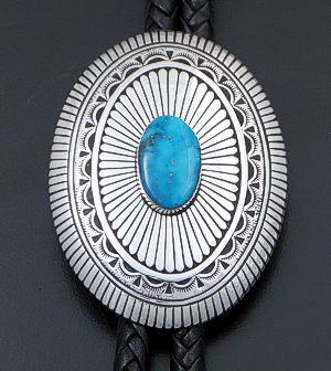 Charlie John (Navajo) - Turquoise & Stamped Sterling Silver Oval Concho Bolo Tie #41859 $900.00