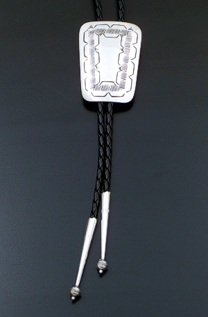 Joann Silver (Navajo) - Stamped Rectangular Sterling Silver Bolo Tie #42169 $95.00