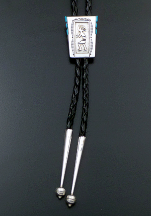 Lonn Parker (Navajo) - Turquoise Accented Sterling Silver Rectangle Kokopelli Wedge Bolo Tie #42294 $120.00