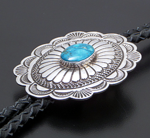 Arnold Blackgoat (Navajo) - Turquoise & Sterling Silver Stamped Oval Concho Bolo Tie #42431 $375.00