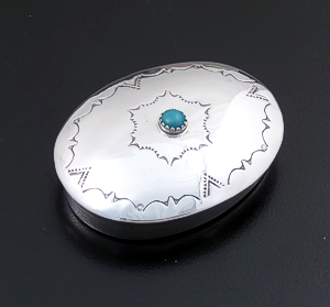Jeff Castillo (Navajo) - Turquoise Accented Oval Sterling Silver Pill Box #31660 $130.00