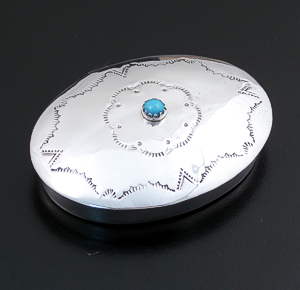 Jeff Castillo (Navajo) - Large Turquoise Accented Oval Sterling Silver Pill Box #34159 $150.00