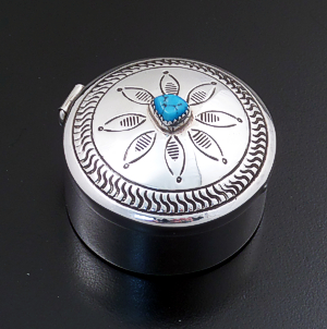 Irene Lee (Navajo) - Turquoise Accented Tall Round Sterling Silver Pill Box #41249 $220.00
