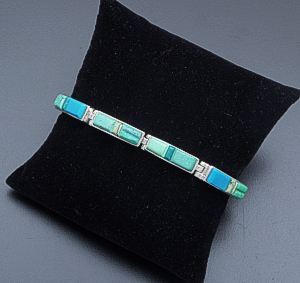Supersmith Inc. - David Rosales Designs - Pine Hill Cobble Inlay & Sterling Silver Rectangle Link Bracelet #10172 BR105C $510.00