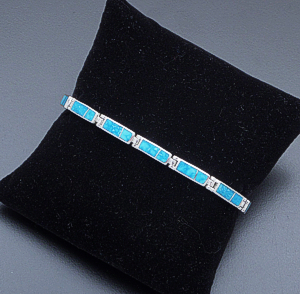 Supersmith Inc. - David Rosales Designs - Watermark Turquoise Inlay & Sterling Silver Narrow Rectangle Link Bracelet #22838 BR106 $440.00