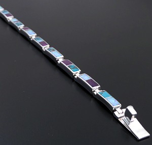 Supersmith Inc. - David Rosales Designs - Shalako Inlay & Sterling Silver Narrow Rectangle Link Bracelet #22841 Style BR106 $420.00