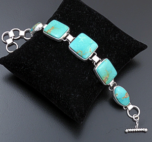 "Geneva Apachito (Navajo) - 6"" to 7 1/4"" Five Stone Turquoise Mountain Turquoise & Sterling Silver Link Bracelet #22898 $360.00"