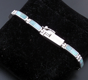 Supersmith Inc. - David Rosales Designs - Amazing Light Inlay & Sterling Silver Narrow Rectangular Link Bracelet #24515 Style BR106 $420.00