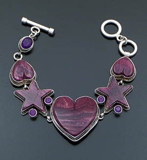 Ronnie Willie (Navajo) - Purple Shell & Amethyst Sterling Silver Star & Heart Link Bracelet #33767 $885.00