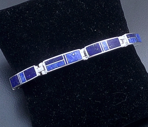 Supersmith Inc. - David Rosales Designs - Blue Water Rectangular Sterling Silver Link Bracelet #3472 Style BR105 $510.00