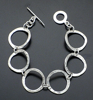 Zina - Sterling Silver Rippled Circles Link Bracelet #37427 $225.00