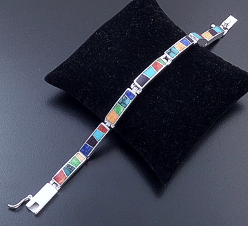 Supersmith Inc. - David Rosales Designs - Indian Summer Cobble & Smooth Inlay & Sterling Silver Rectangular Link Bracelet #39384 Style BR105C $690.00