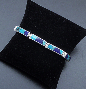 Supersmith Inc. - David Rosales Designs - Blue Mountain Inlay & Sterling Silver Rectangle Link Bracelet #40180 BR105 $510.00