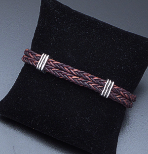 Zina - Double Strand Woven Brown Leather and Sterling Silver Bracelet #40851 $255.00