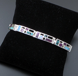 Supersmith Inc. - David Rosales Designs - Shalako Inlay & Sterling Silver Code Talker Rectangle Link Bracelet #41170 Style BR104 $550.00