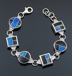 Supersmith Inc. - David Rosales Designs - Black Beauty Inlay & Sterling Silver Square & Circle Link Bracelet #41185 Style BR439 $725.00