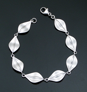 Zina - Sterling Satin Finished Silver Leaf Link Bracelet #41519 Item 17 $255.00