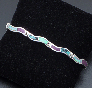 Supersmith Inc. - David Rosales Designs - Shalako Inlay & Sterling Silver Narrow Wave Link Bracelet #41628 Item 1 Style BR102 $445.00