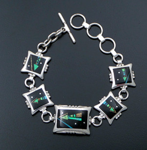 Supersmith Inc. - David Rosales Designs - Twilight Arrow Inlay & Sterling Silver Beaded Square & Rectangular Link Bracelet #41630 Item 7 Style BR340M $1,000.00