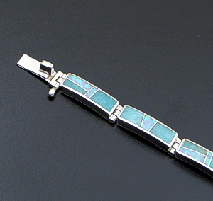Supersmith Inc. - David Rosales Designs - Amazing Light Inlay & Sterling Silver Rectangle Link Bracelet #41631 Item 3 Style BR105 $510.00