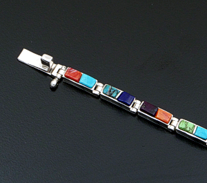 Supersmith Inc. - David Rosales Designs - Indian Summer Cobble Inlay & Sterling Silver Narrow Rectangle Link Bracelet #41643 Style BR106C $480.00