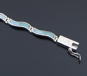 Supersmith Inc. - David Rosales Designs - Amazing Light Inlay & Sterling Silver Narrow Wave Link Bracelet #41645 Style BR102 $445.00