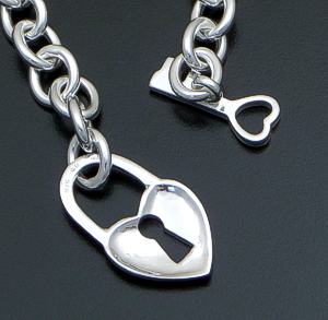 Key To Her Heart - Sterling Silver Oval Link Toggle Bracelet #41652 $200.00