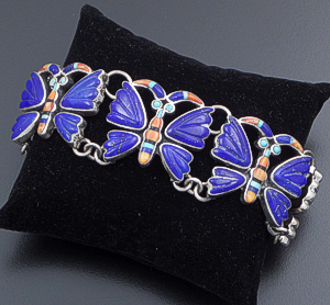 Federico (Navajo) - Lapis Lazuli & Multistone Inlay Sterling Silver Butterfly Bracelet #42147 $1,920.00