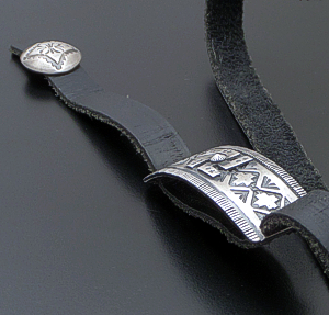 Gary Reeves (Navajo) - Whirling Logs Satin Finished Sterling Silver & Leather Bracelet or Choker Necklace #42305 $575.00