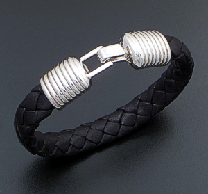 Zina - Woven Black Leather & Lined Sterling Silver Hook Bracelet #42865 $255.00