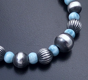 Marilyn Platero (Navajo) - Larimar & Mixed Burnished Sterling Silver Bead Bracelet #43321 $120.00