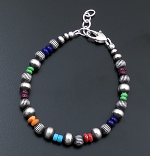 Marilyn Platero (Navajo) - Multistone & Mixed Burnished Sterling Silver Bead Bracelet #43322 $120.00