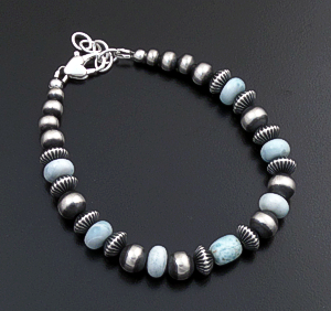 Marilyn Platero (Navajo) - Graduated Larimar & Mixed Burnished Sterling Silver Bead Bracelet #43324 $120.00