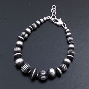 "Marilyn Platero (Navajo) - 7 3/4"" to 8 5/8"" Graduated Smooth & Fluted Mixed Burnished Sterling Silver Bead Bracelet #43325 $120.00"