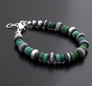 Marilyn Platero (Navajo) - Green Turquoise & Mixed Burnished Sterling Silver Bead Bracelet #43327 $135.00