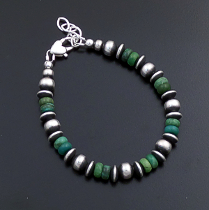 Marilyn Platero (Navajo) - Green Turquoise & Mixed Burnished Sterling Silver Bead Bracelet #43328 $120.00